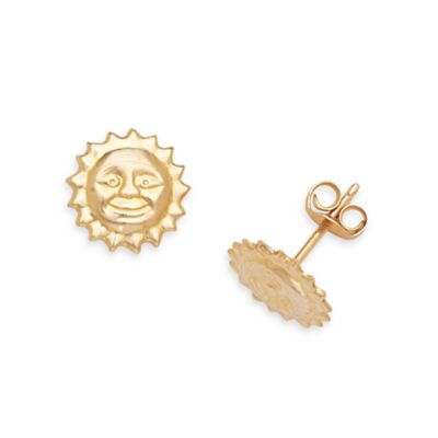 14K Yellow Gold Children's Sun Earrings in 8 x 8MM