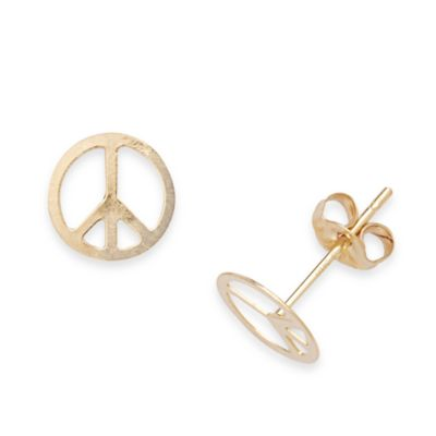 14K Yellow Gold Children's Peace Sign Earrings in 7 x 7MM