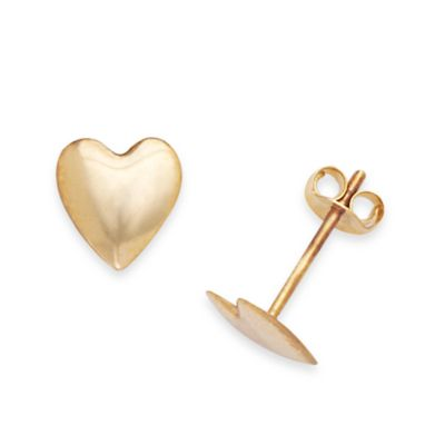 14K Yellow Gold Children's Large 7 x 6MM Heart Earrings