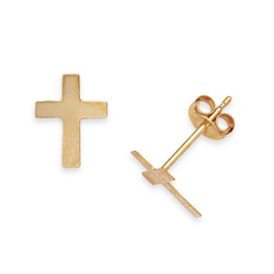 14K Yellow Gold Children's Cross Stud Earrings in 9 x 7MM