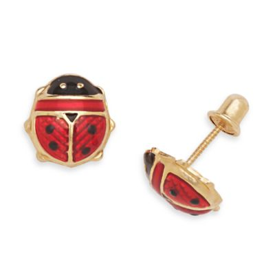 14K Yellow Gold Children's Enamel Ladybug Screw-Back Earrings in 9 x 8MM
