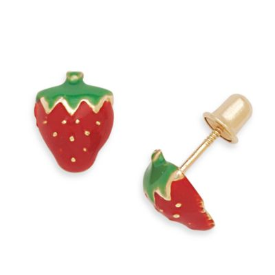 14K Yellow Gold Children's Enamel Strawberry Screw-Back Earrings in 8 x 6MM