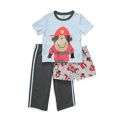 Carter's® Fireman Monkey 3-Piece Size 2T PJs in Blue