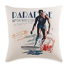 Surf's Up Square Vintage Print Toss Pillow