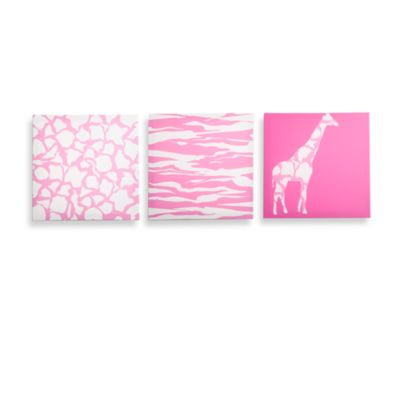 Modern Littles Rose Pink Animal Party Canvas Prints (Set of 3)