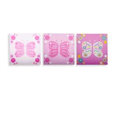GiggleDots Rose Butterfly Flutter Canvas Prints (Set of 3)
