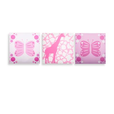Modern Littles Butterfly & Giraffe Party Prints (Set of 3)