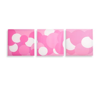 Modern Littles Rose Pink Bubbles Canvas Prints (Set of 3)