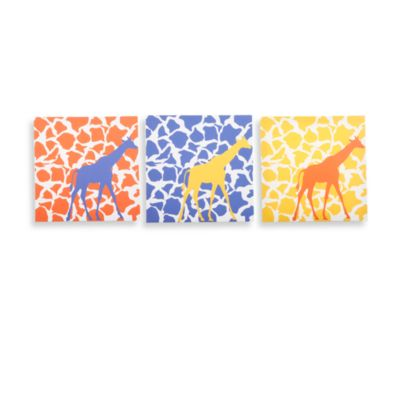 GiggleDots Rusty Giraffe Walk Canvas Prints (Set of 3)