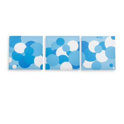 Modern Littles Sky Baby Boy Bubbles Canvas Prints (Set of 3)
