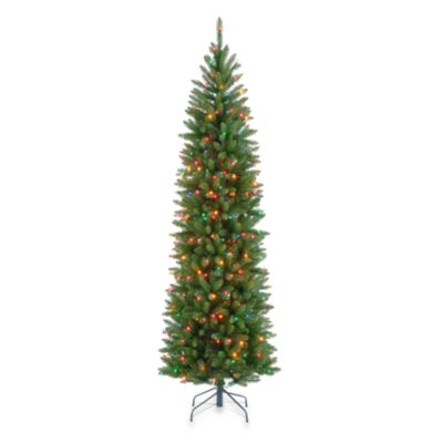 7.5-foot Kingswood Fir Hinged Pencil Tree Pre-lit with 350 Multicolored Lights