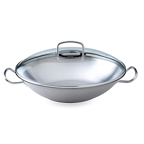 Fissler Original Pro Collection 13.8-Inch Covered Wok with Steamer Rack