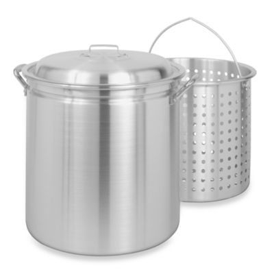 Bayou Classic® 42-Quart Aluminum Stock Pot with Elevated Basket and Vented Lid