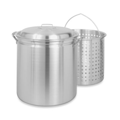 Bayou Classic® 34-Quart Aluminum Stock Pot with Elevated Basket and Vented Lid