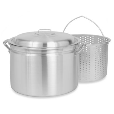 Bayou Classic® 24-Quart Aluminum Stock Pot with Elevated Basket and Vented Lid