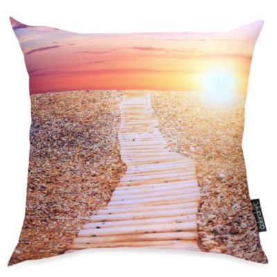 Beach Path Coral Toss Pillow
