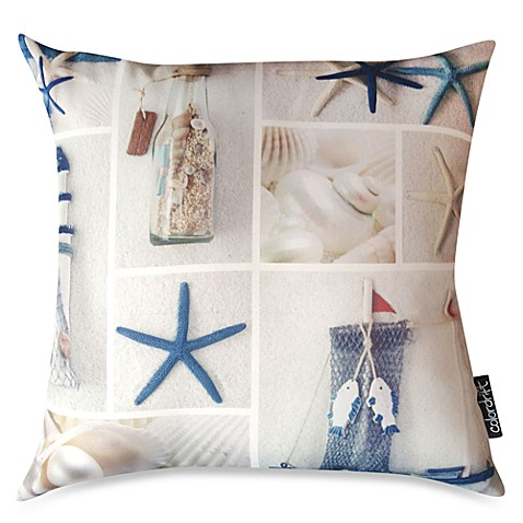 Costal Collage Multi-Colored Throw Pillow