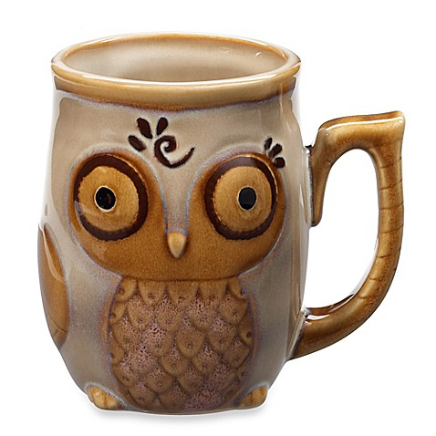 Gibson Home Nature's Owl 12-Ounce Mug in Cream