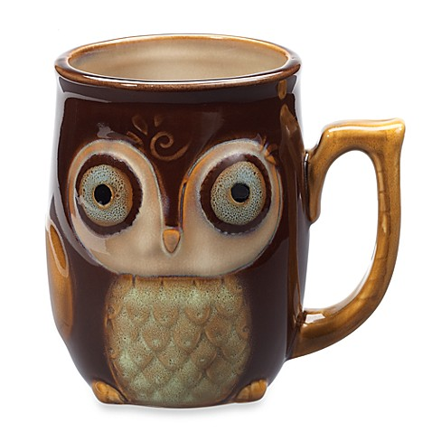 Gibson Home Nature's Owl 12-Ounce Mug in Brown - BedBathandBeyond.com