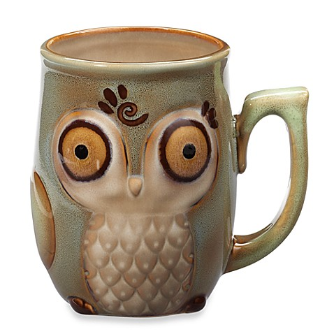 Gibson Home Nature's Owl 12-Ounce Mug in Blue - BedBathandBeyond.com