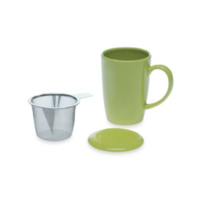 Ceramic Mug with Lid and Infuser Set in Lemon Grass