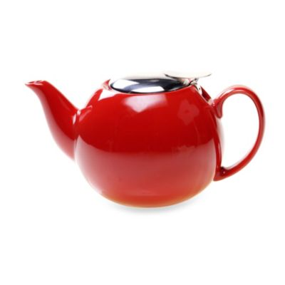 Ceramic 24-Ounce Teapot with Infuser in Red