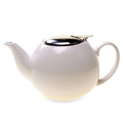 Ceramic 24-Ounce Teapot with Infuser in White