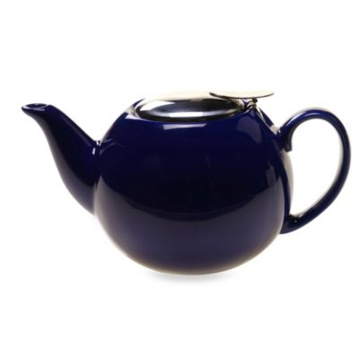 Ceramic 24-Ounce Teapot with Infuser in Cobalt Blue