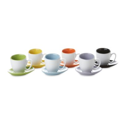Classic Coffee & Tea Contemporary Cups and Saucers Set in 12 Pieces