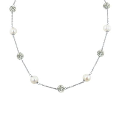 Honora Sterling Silver, Ringed Freshwater Cultured 8-9mm Pearl & Crystal Tincup Necklace in White