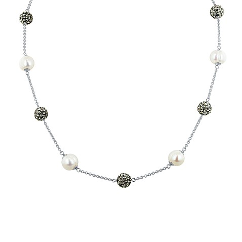 Honora Sterling Silver, Ringed Freshwater Cultured 8-9mm Pearl & Crystal Tincup Necklace in Grey