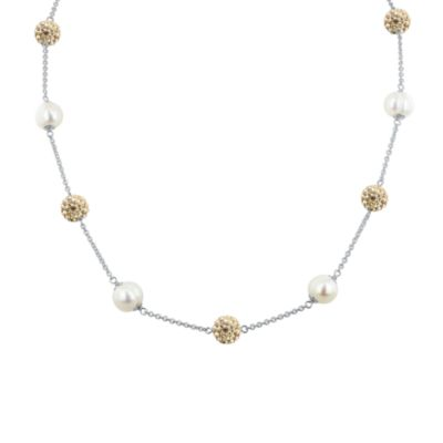 Honora Sterling Silver, Ringed Freshwater Cultured 8-9mm Pearl & Crystal Tincup Necklace in Champagne