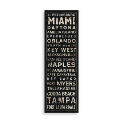 Florida Places Wall Art in Black/White