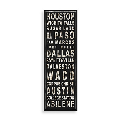 Texas Places Black/White Wall Art