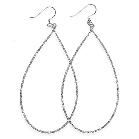 Charlene K Sterling Silver 3-Inch Machine Hammered Teardrop Earrings