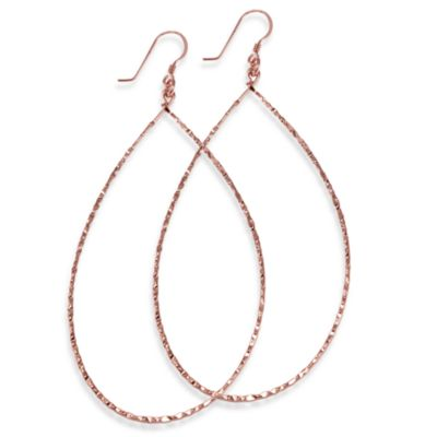 Charlene K 14K Rose Gold Vermeil 3-Inch Machine Hammered Teardrop Earrings