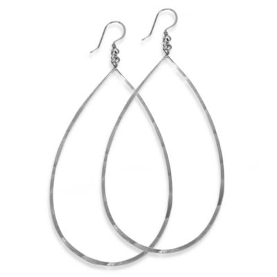 Charlene K Sterling Silver 3-Inch Hand-Hammered Teardrop Earrings