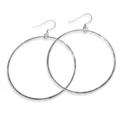 Charlene K Sterling Silver 2-Inch Hand-Hammered Hoop Earrings