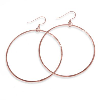 Charlene K 14K Rose Gold Vermeil 2-Inch Hand Hammered Hoop Earrings