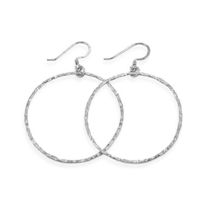 Charlene K 14K Machine-Hammered 1 1/2-Inch Hoop Earrings in Sterling Silver