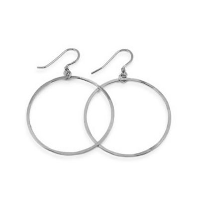 Charlene K Sterling Silver 1 1/2-Inch Hand-Hammered Hoop Earrings