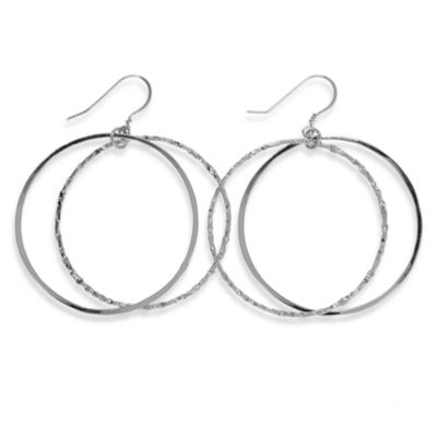 Charlene K 14K Sterling Silver 1 1/2-Inch Double Hoop Earrings