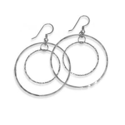 Charlene K Sterling Silver 1 1/2-Inch Combination Hoop Earrings