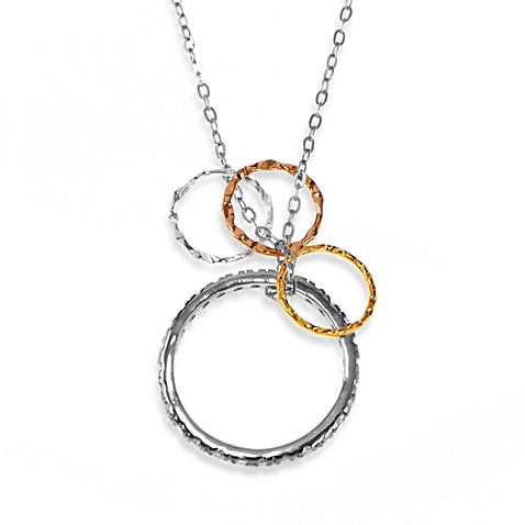 Charlene K Sterling Silver Stackable Ring with Multiple Circles Pendant