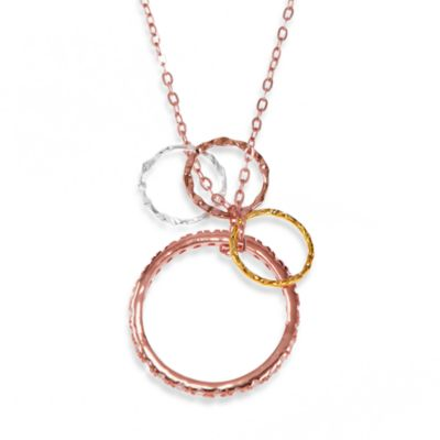 Charlene K 14K Rose Gold Vermeil Stackable Ring with Multiple Circles Pendant