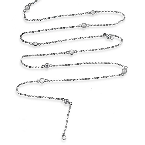 Charlene K Sterling Silver Diamond by the Yard 41-Inch Necklace