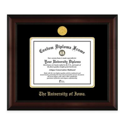 University of Iowa 22K Gold-Plated Medallion Diploma Frame