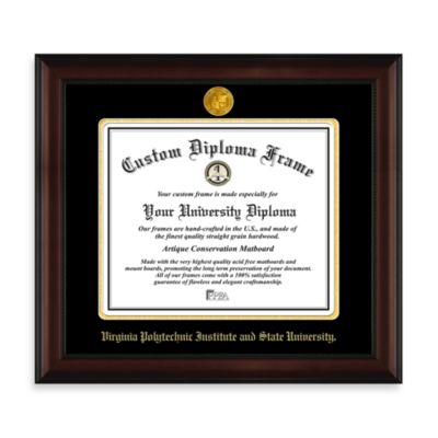 Virginia Tech 22K Gold-Plated Medallion Diploma Frame