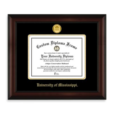 University of Mississippi 22K Gold-Plated Medallion Diploma Frame