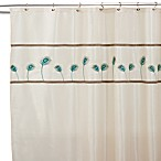 Aurora 72-Inch x 72-Inch Ivory and Blue Shower Curtain